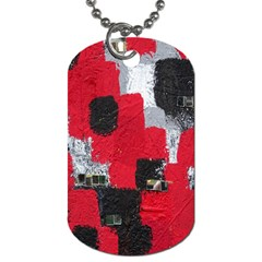 Red Black Gray Background Dog Tag (one Side)