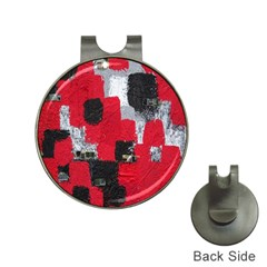 Red Black Gray Background Hat Clips with Golf Markers