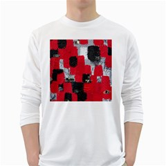 Red Black Gray Background White Long Sleeve T Shirts
