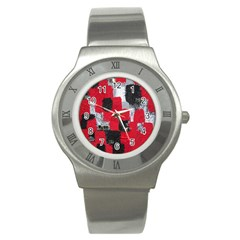 Red Black Gray Background Stainless Steel Watch