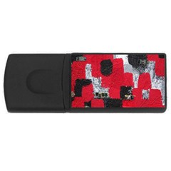 Red Black Gray Background USB Flash Drive Rectangular (4 GB)