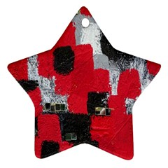 Red Black Gray Background Star Ornament (two Sides)
