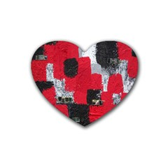 Red Black Gray Background Heart Coaster (4 Pack)