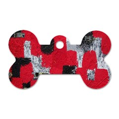 Red Black Gray Background Dog Tag Bone (one Side)