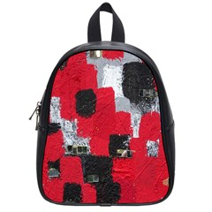 Red Black Gray Background School Bags (small)