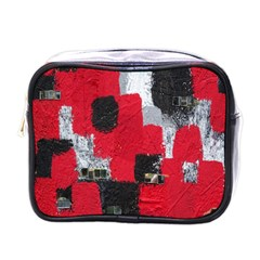 Red Black Gray Background Mini Toiletries Bags