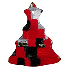 Red Black Gray Background Ornament (christmas Tree)