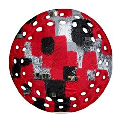 Red Black Gray Background Round Filigree Ornament (two Sides)