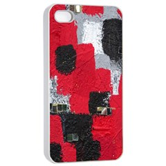 Red Black Gray Background Apple Iphone 4/4s Seamless Case (white)