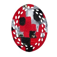 Red Black Gray Background Oval Filigree Ornament (Two Sides)