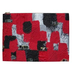 Red Black Gray Background Cosmetic Bag (XXL)