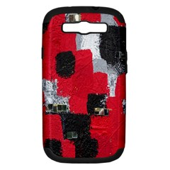Red Black Gray Background Samsung Galaxy S III Hardshell Case (PC+Silicone)