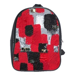 Red Black Gray Background School Bags (XL)