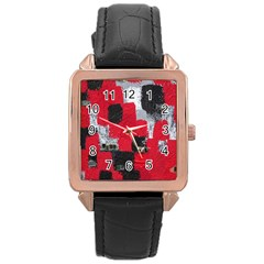 Red Black Gray Background Rose Gold Leather Watch