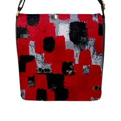 Red Black Gray Background Flap Messenger Bag (L)