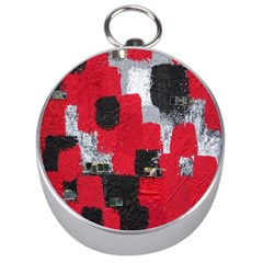 Red Black Gray Background Silver Compasses
