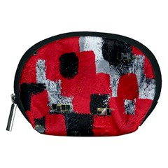 Red Black Gray Background Accessory Pouches (Medium)