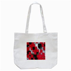 Red Black Gray Background Tote Bag (White)