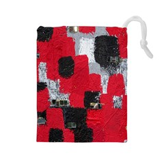Red Black Gray Background Drawstring Pouches (Large)