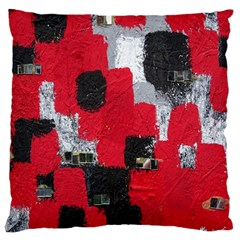 Red Black Gray Background Large Flano Cushion Case (Two Sides)