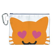 Smile Face Cat Orange Heart Love Emoji Canvas Cosmetic Bag (L)