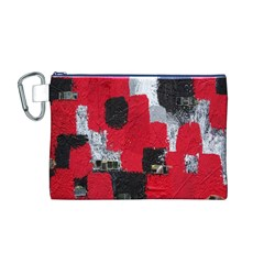 Red Black Gray Background Canvas Cosmetic Bag (M)