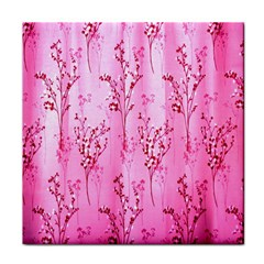 Pink Curtains Background Tile Coasters