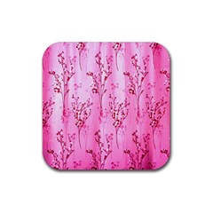 Pink Curtains Background Rubber Square Coaster (4 pack)