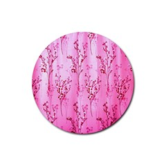 Pink Curtains Background Rubber Round Coaster (4 pack)
