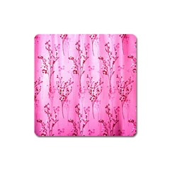 Pink Curtains Background Square Magnet