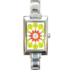 Tikiwiki Abstract Element Flower Star Red Green Rectangle Italian Charm Watch