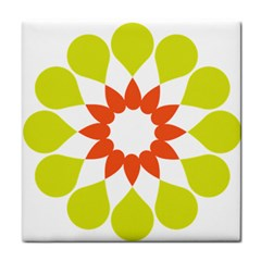 Tikiwiki Abstract Element Flower Star Red Green Tile Coasters