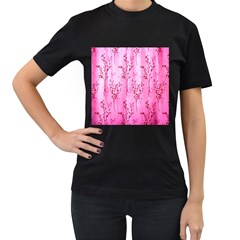 Pink Curtains Background Women s T Shirt (black) (two Sided)