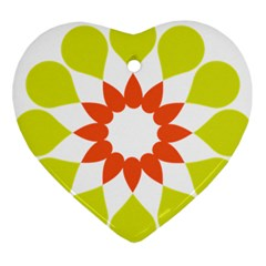 Tikiwiki Abstract Element Flower Star Red Green Ornament (heart)