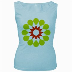 Tikiwiki Abstract Element Flower Star Red Green Women s Baby Blue Tank Top