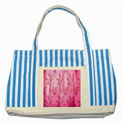 Pink Curtains Background Striped Blue Tote Bag