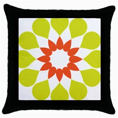Tikiwiki Abstract Element Flower Star Red Green Throw Pillow Case (black)