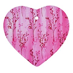 Pink Curtains Background Heart Ornament (Two Sides)