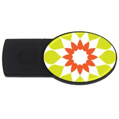 Tikiwiki Abstract Element Flower Star Red Green USB Flash Drive Oval (1 GB)