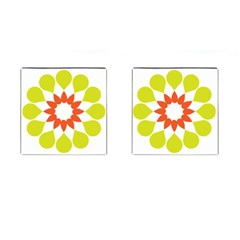 Tikiwiki Abstract Element Flower Star Red Green Cufflinks (square)