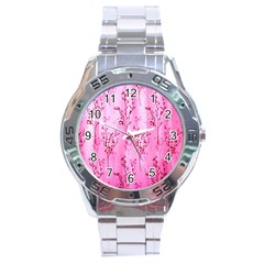 Pink Curtains Background Stainless Steel Analogue Watch
