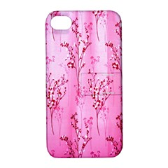 Pink Curtains Background Apple iPhone 4/4S Hardshell Case with Stand
