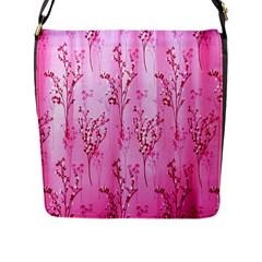 Pink Curtains Background Flap Messenger Bag (l)