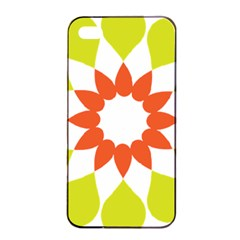 Tikiwiki Abstract Element Flower Star Red Green Apple iPhone 4/4s Seamless Case (Black)
