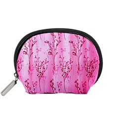 Pink Curtains Background Accessory Pouches (Small)