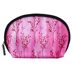 Pink Curtains Background Accessory Pouches (Large)