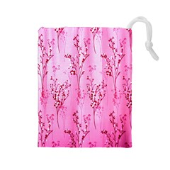 Pink Curtains Background Drawstring Pouches (Large)