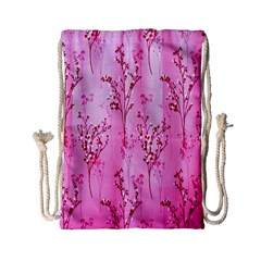 Pink Curtains Background Drawstring Bag (Small)