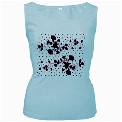 Floral Pattern Women s Baby Blue Tank Top
