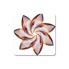 Prismatic Flower Line Gold Star Floral Square Magnet